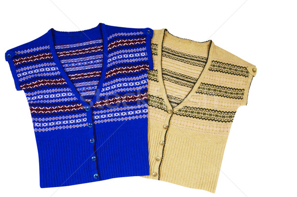 Modern   warm waistcoats on a white. Stock photo © lypnyk2