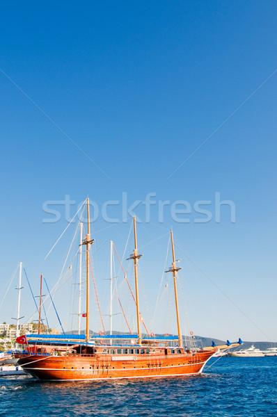 Beautiful yachts at coast Aegean sea. Stock photo © lypnyk2
