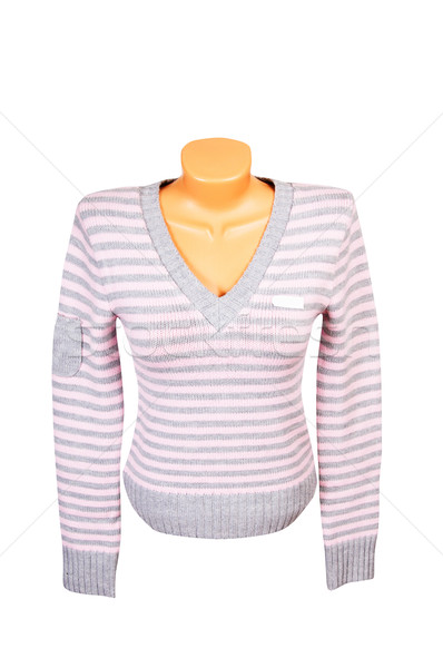 Stock photo: Pink-gray jumper on a white.