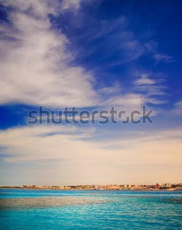 Ville vue mer construction maison nuages Photo stock © lypnyk2