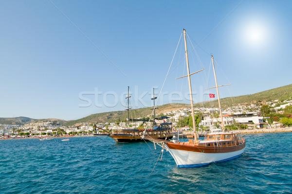 Splendid yachts at coast Aegean sea. Stock photo © lypnyk2