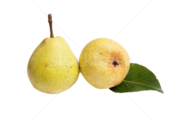 Сток-фото: груши · белый · два · вкусный · зеленый · лист · изолированный