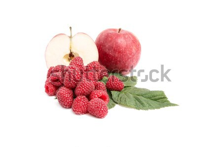 Juicy,ripe apples and raspberries on a white. Stock photo © lypnyk2