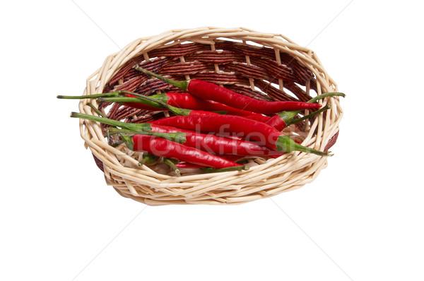 Splendid, wooden basket full of red peppers Stock photo © lypnyk2