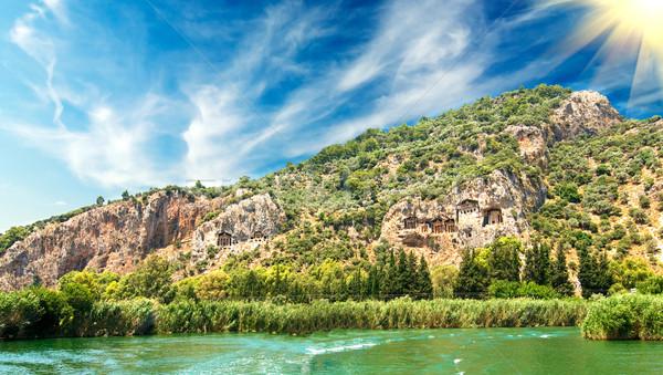Rock wody słońce Świt kamień rzeki Zdjęcia stock © lypnyk2