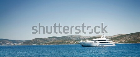 Splendid military yacht at coast Aegean sea. Stock photo © lypnyk2