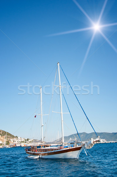 Beautiful yachts at coast Aegean sea. Stock photo © lypnyk2