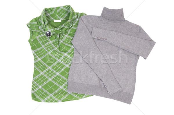 Winter gray sweater and green waistcoat on a white. Stock photo © lypnyk2