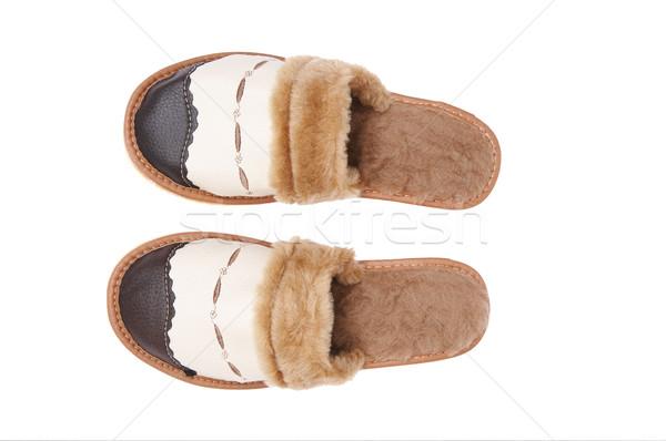 Skóry schludny kapcie biały brązowy futra Zdjęcia stock © lypnyk2