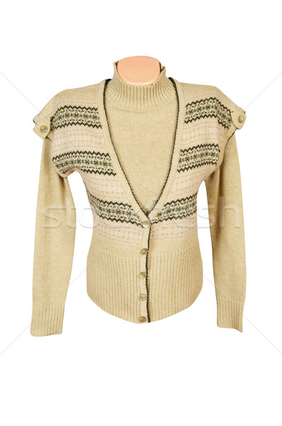Modern yellow, warm waistcoat and sweater on a white. Stock photo © lypnyk2