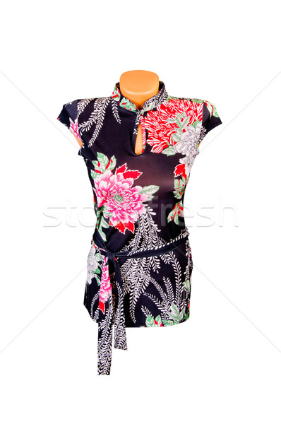 Trendy,modern tunic with flowers on a white. Stock photo © lypnyk2