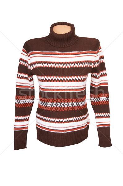 Elegáns pulóver fehér kitűnő meleg barna Stock fotó © lypnyk2