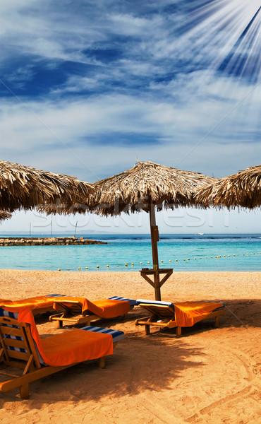 Csodálatos nap tengerpart Egyiptom egzotikus öböl Stock fotó © lypnyk2
