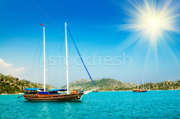 Wonderful yachts and sunbeams in the bay. Turkey. Kekova. Stock photo © lypnyk2