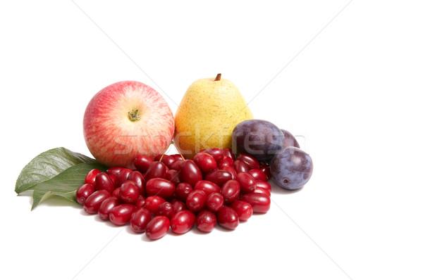 Juicy autumn fruits on a white. Stock photo © lypnyk2