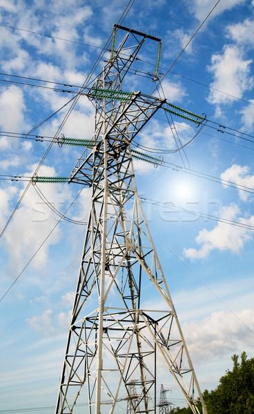 Wonderful blue sky and electrical pylon. Stock photo © lypnyk2
