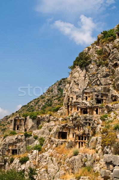 Alto montanhas blue sky histórico cidade Turquia Foto stock © lypnyk2