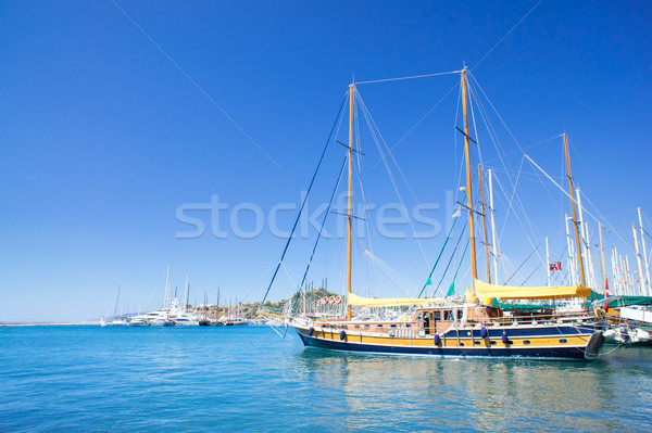 Splendid yachts at coast Aegean sea. Stock photo © lypnyk2