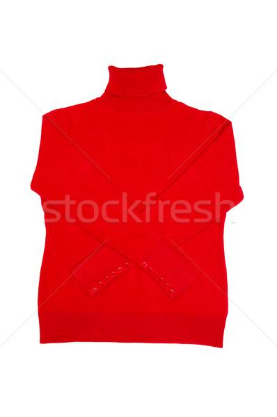 Modieus Rood trui witte mooie geïsoleerd Stockfoto © lypnyk2