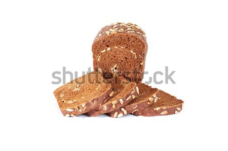 Kenyér tele magok fehér kenyér izolált fehér Stock fotó © lypnyk2