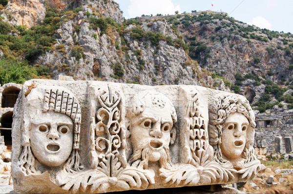 Ancient,abandoned masks and tombs in Myra.Turkey. Stock photo © lypnyk2