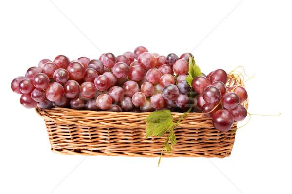 Legno basket maturo uve bianco isolato Foto d'archivio © lypnyk2