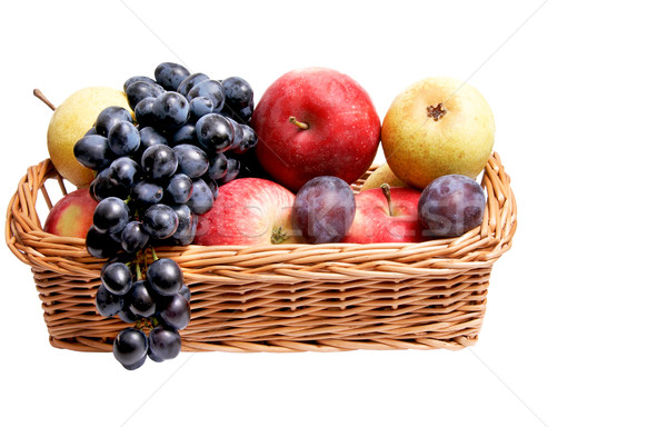 Ripe autumn fruits at the wooden basket. Stock photo © lypnyk2
