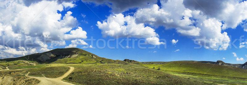 Elképesztő dombok kék ég csodálatos hegyek nyár Stock fotó © lypnyk2