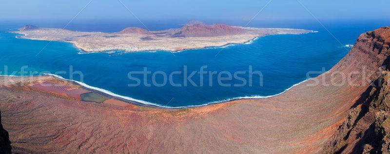 Panoramique vue la île eau montagne Photo stock © macsim