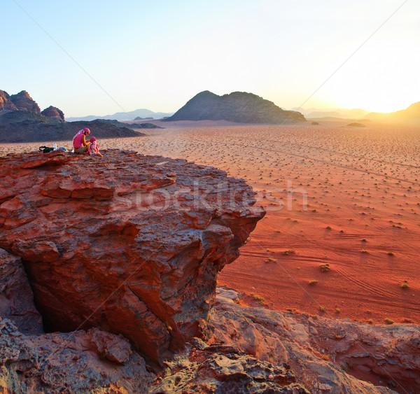 Naplemente kos Jordánia panoráma elképesztő kilátás Stock fotó © macsim