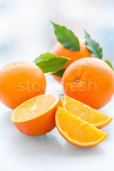 Oranje geheel groene bladeren voedsel blad Stockfoto © macsim
