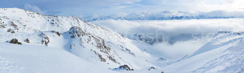 Alpine bergen sneeuw winter panorama natuur Stockfoto © macsim
