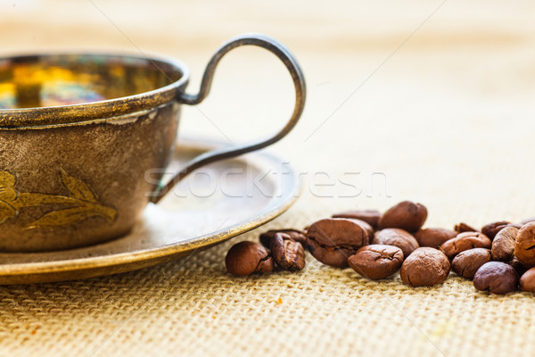 Tasse grain de café lait café noir Photo stock © macsim