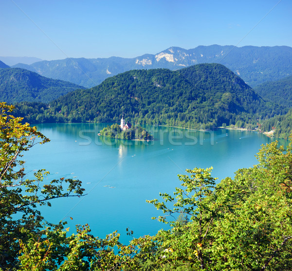 Photo from air perspective, Bled lake with island Stock photo © macsim