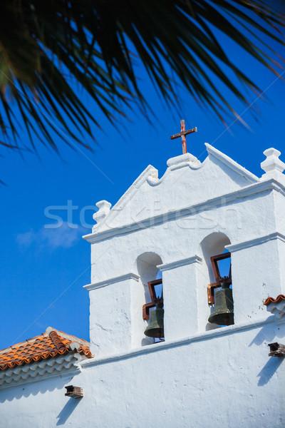 Kerk gezicht diep Blauw avond hemel Stockfoto © macsim