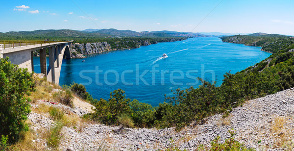 Rivier brug Kroatië reizen panorama auto Stockfoto © macsim