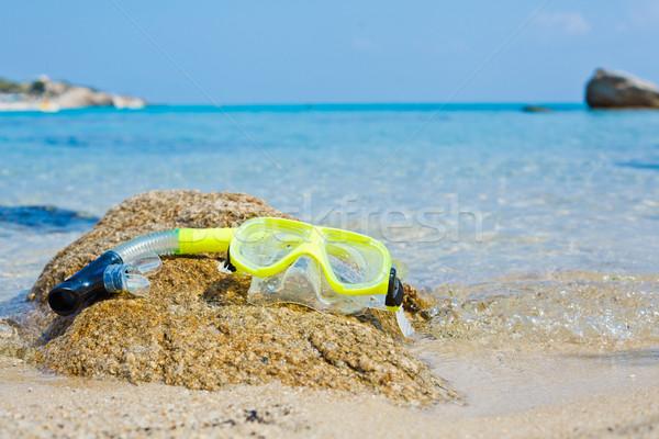 Snorkel masker strand Geel natuur bril Stockfoto © macsim