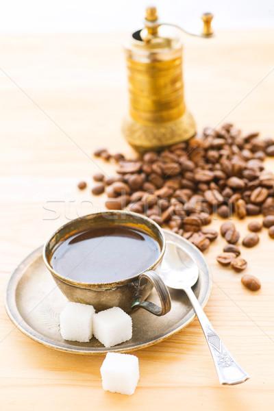 Beker koffie koffieboon verticaal melk Stockfoto © macsim