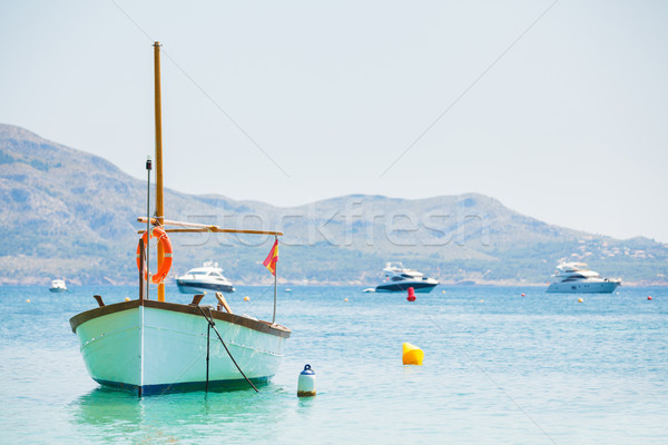 Witte boot anker middellandse zee zee water Stockfoto © macsim