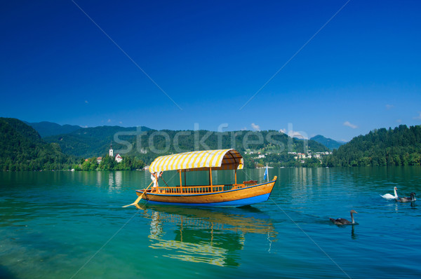Colorful boat on Lake Bled. Slovenia Stock photo © macsim