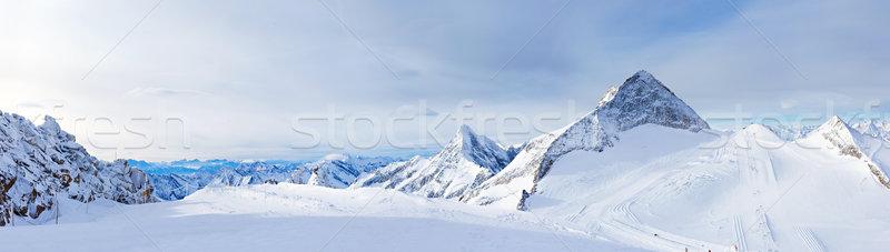 Stock fotó: Sí · üdülőhely · gleccser · Ausztria · tél · tájkép