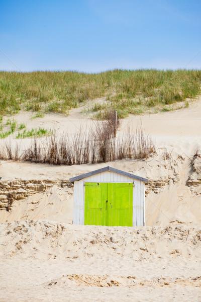 Stockfoto: Huis · strand · blauwe · hemel · nederlands · familie · gebouw