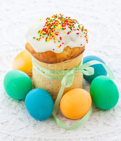 Easter cake and colorful eggs Stock photo © macsim