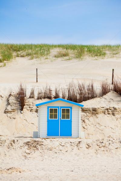Huis strand blauwe hemel nederlands familie gebouw Stockfoto © macsim