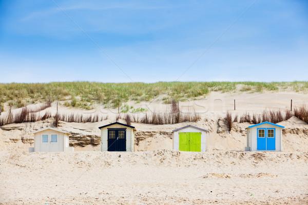 Stockfoto: Huizen · strand · blauwe · hemel · nederlands · familie · huis