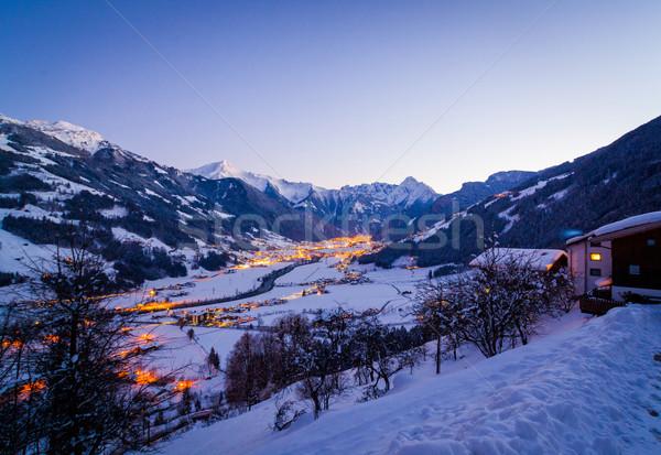 Ski resort nacht vallei Stockfoto © macsim