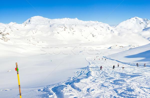Stock fotó: Sí · üdülőhely · Ausztria · tél · tájkép · délelőtt