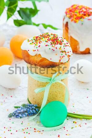Színes tojások húsvét torta ünnepi asztal Stock fotó © macsim