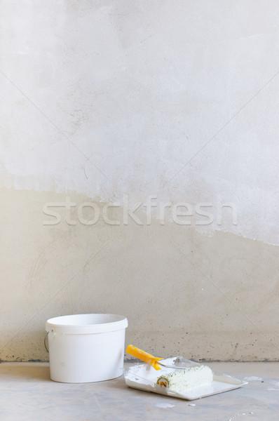 Home Improvement Paint Roller And Paint Tin Stock photo © macsim