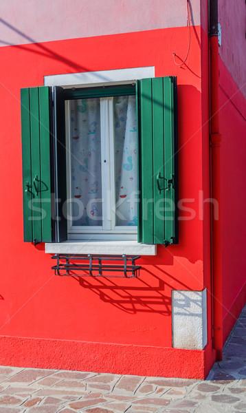 Színes házak Velence Olaszország ablakok ház Stock fotó © macsim